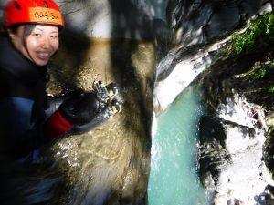 滑りおりた滝