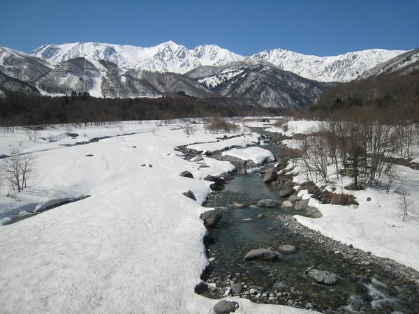 松川か望む白馬三山